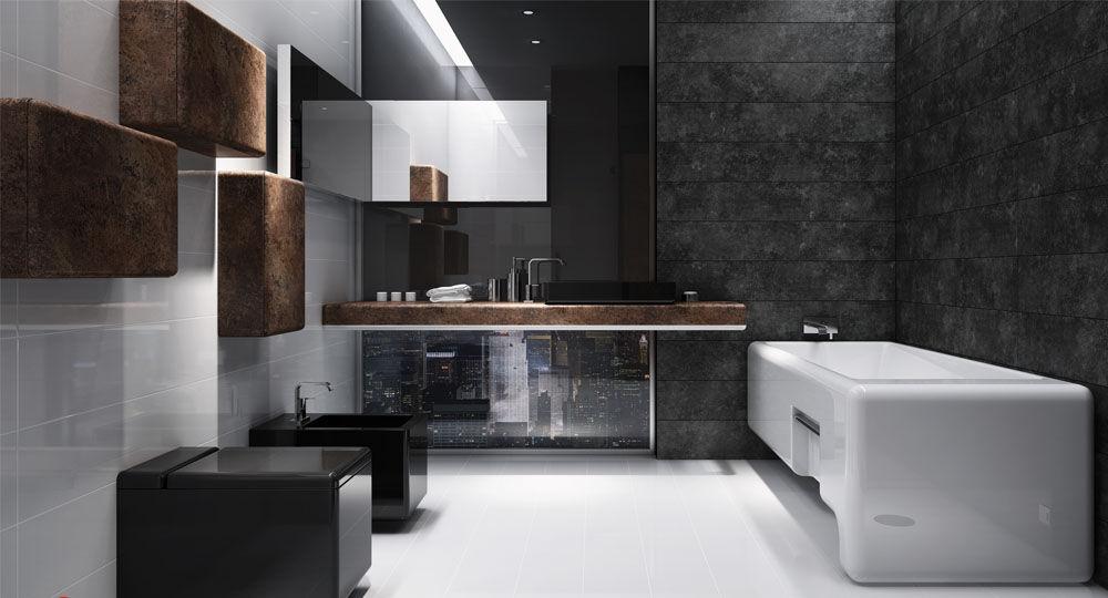 skai Möbelfolie in Beton- und Steinoptik in Badezimmer Avellino