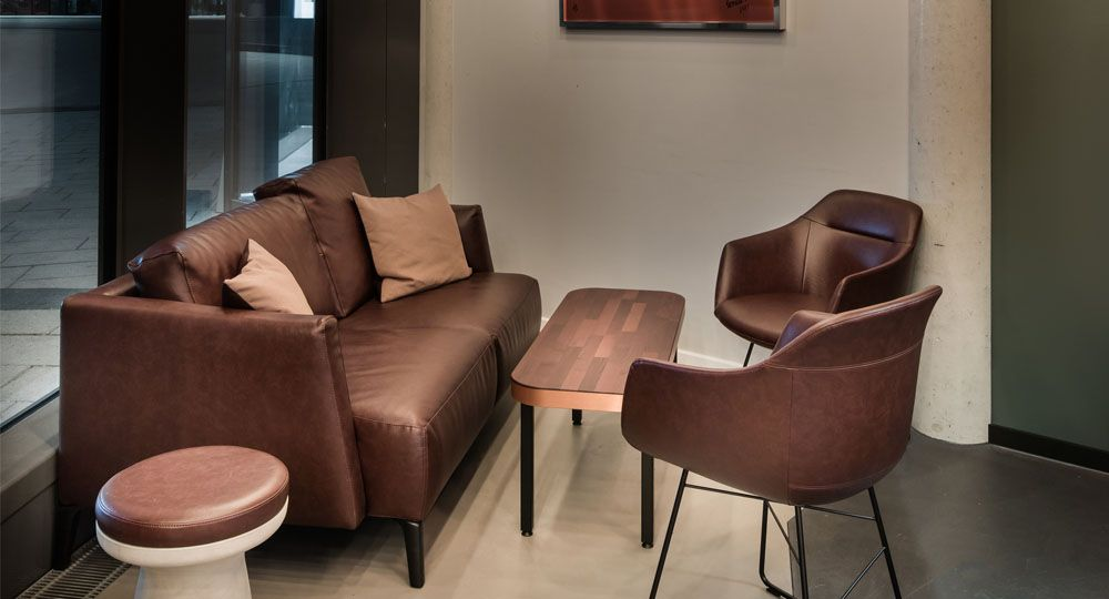 Artificial leather from skai® in beige and brown on upholstered furniture