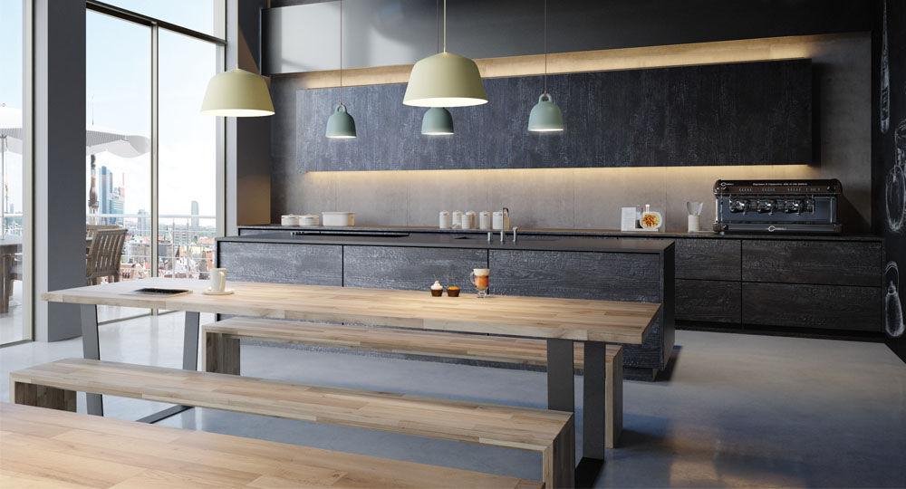 skai Möbelfolie in schwarz & anthrazit in Küche Black Glow Dark