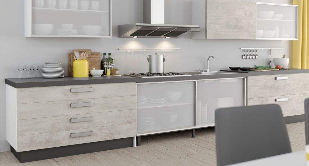skai Möbelfolie in Beton- und Steinoptik in Küche