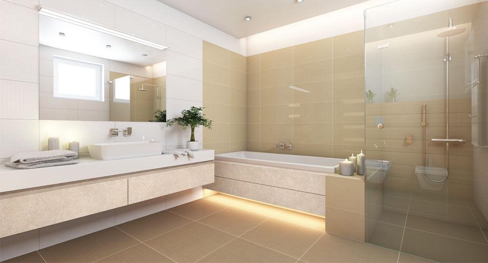 skai Möbelfolie in Beton- und Steinoptik in Badezimmer hell
