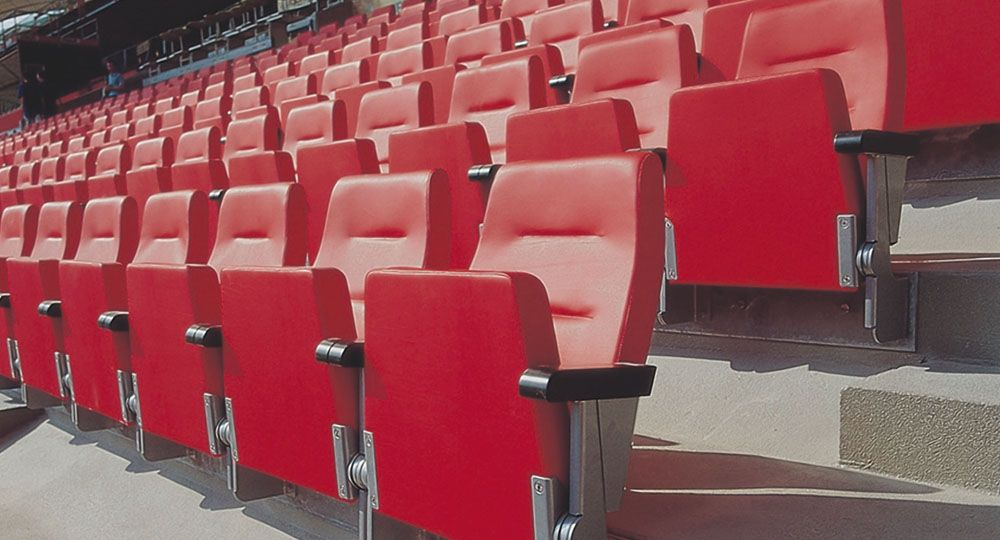 Skai® artificial leather in red and violet in stadiums