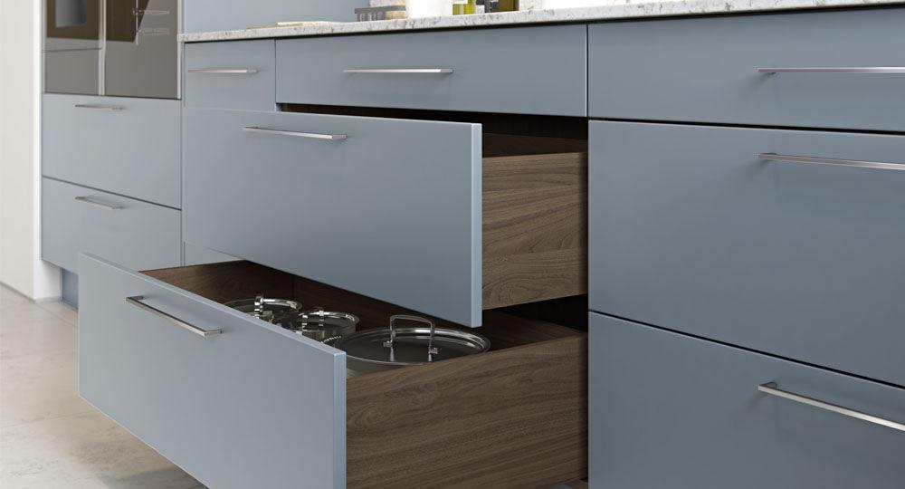 Möbelfolie blau & türkis in Küchenmöbel Schublade Perfect Touch denime