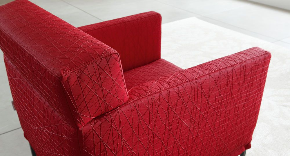 Skai® artificial leather in red and violet for upholstered furniture