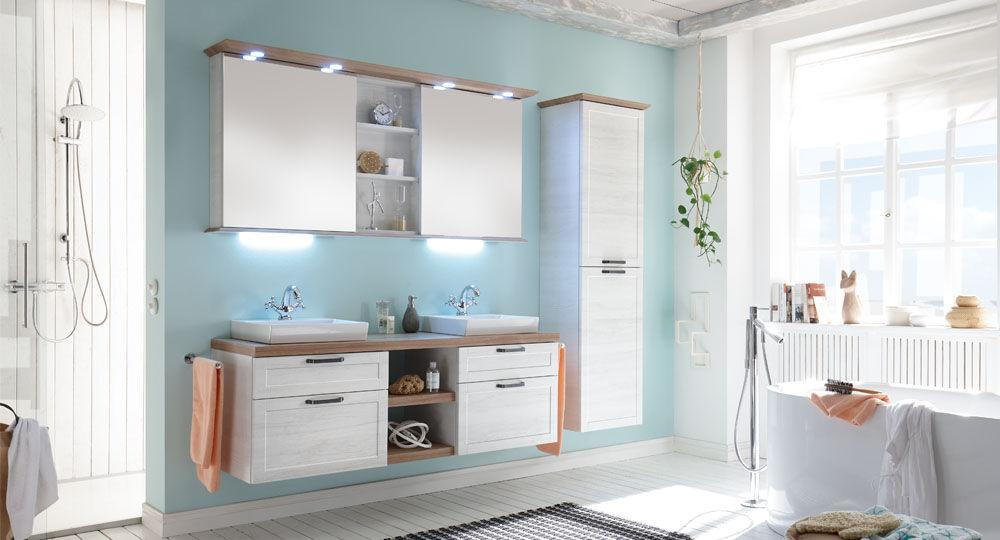 Möbelfolie in weiß & hellbeige in Badezimmer