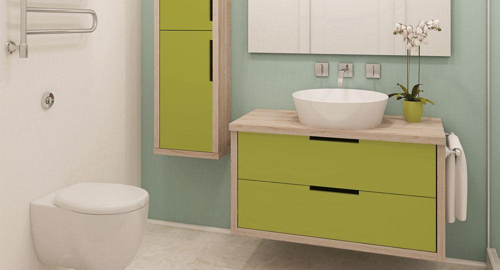 Möbelfolie in grün & olive für Badezimmermöbel