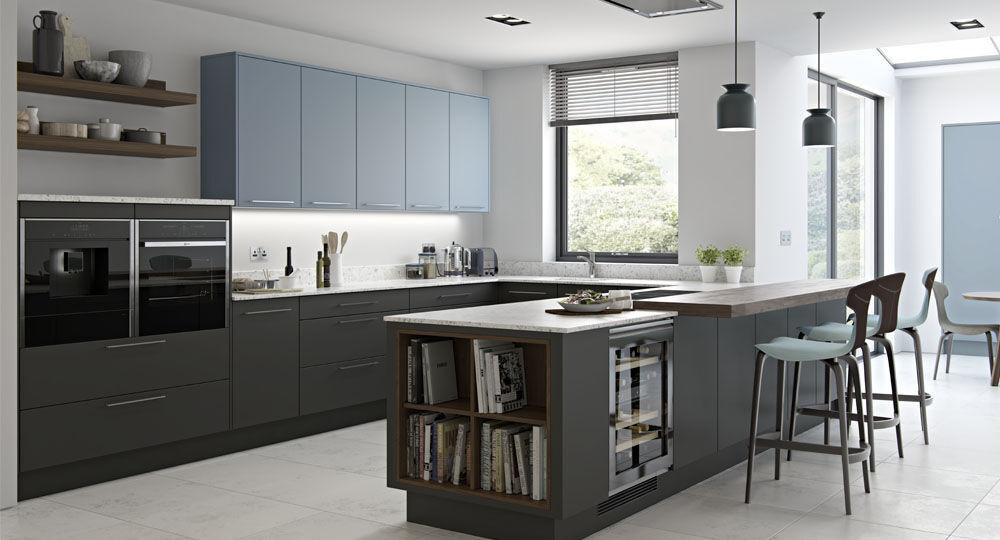 Möbelfolie blau & türkis in Küchenmöbel Perfect Touch graphite