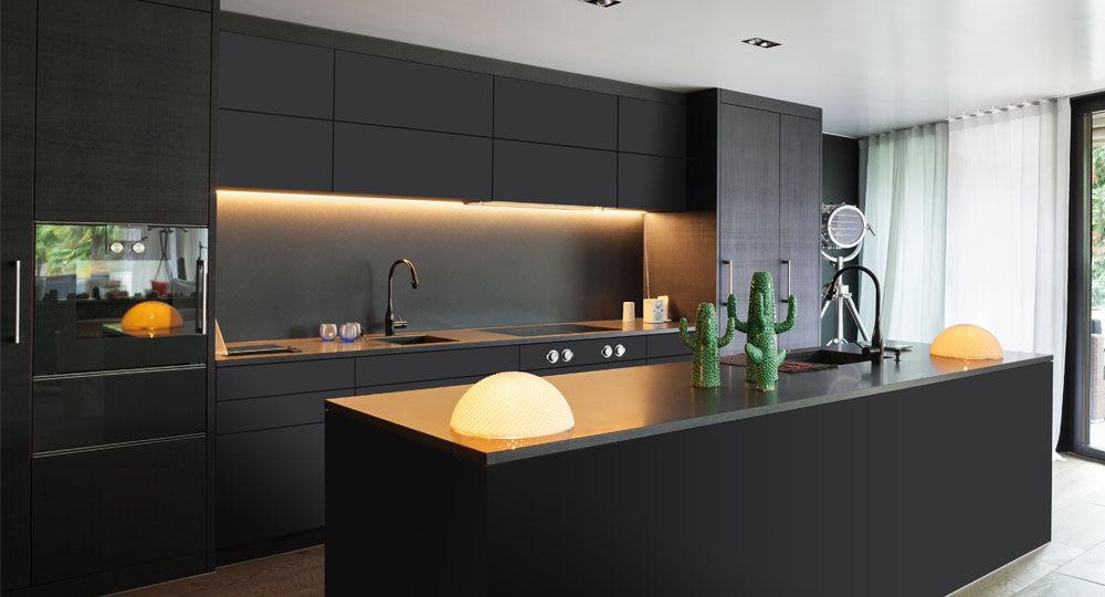 Möbelfolie in schwarz & anthrazit in Küche PureLux 2D soft