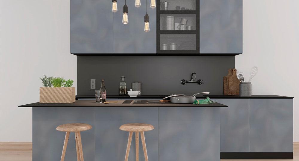 Möbelfolie in grau & silber für Küchenmöbel