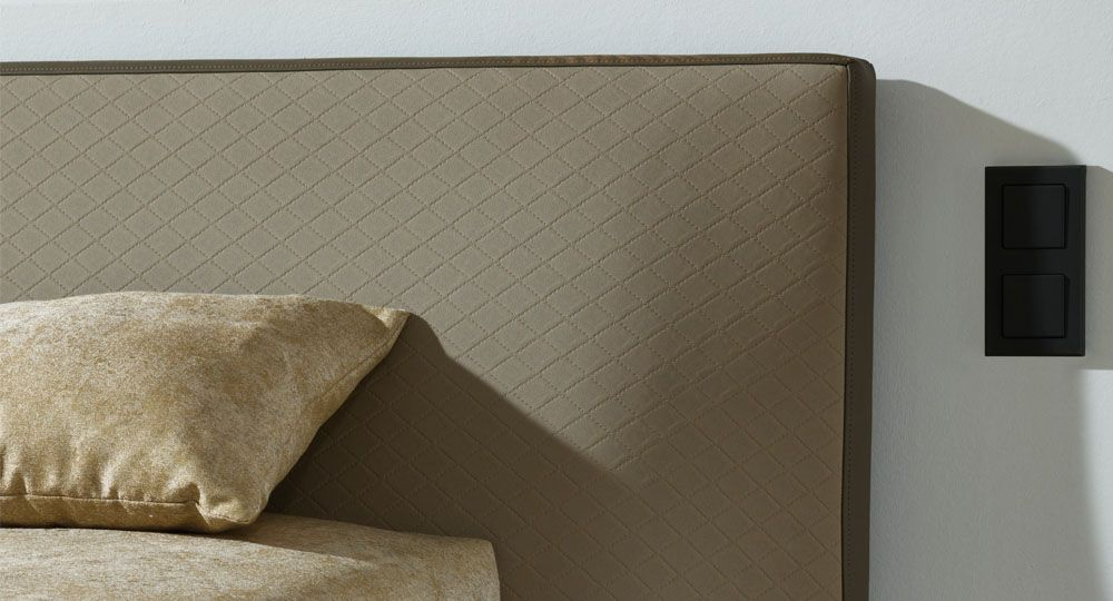 Artificial leather from skai® in beige and brown on upholstered furniture in the living area