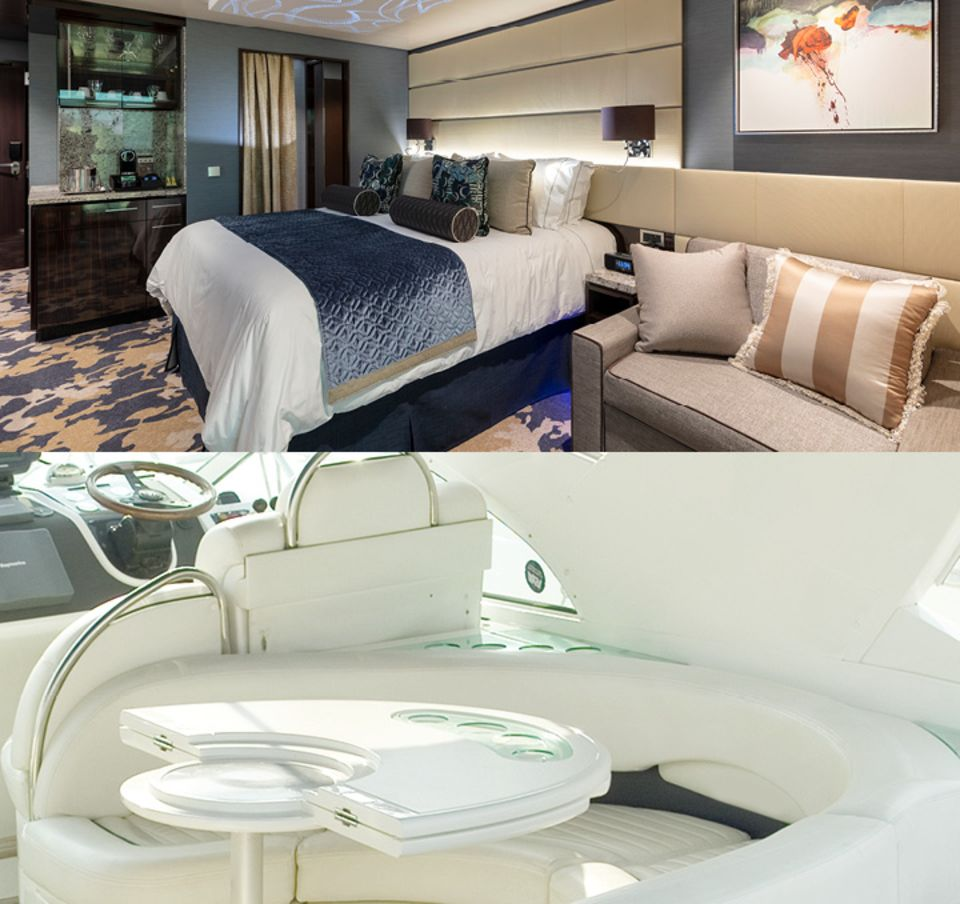 skai® upholstery as wall covering and for padded seats on cruise ships and boats